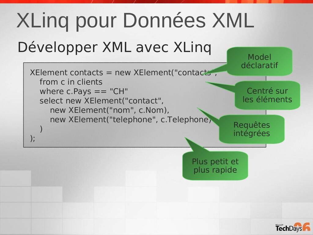 XLinq pour Données XML XElement contacts = new ...