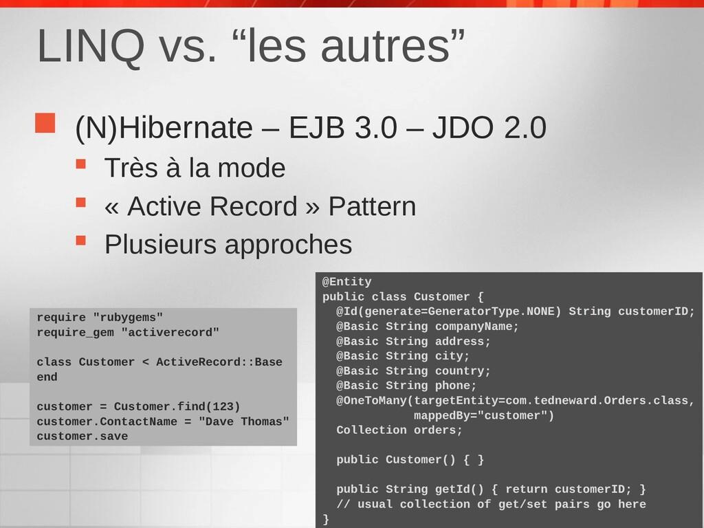  (N)Hibernate – EJB 3.0 – JDO 2.0  Très à la ...