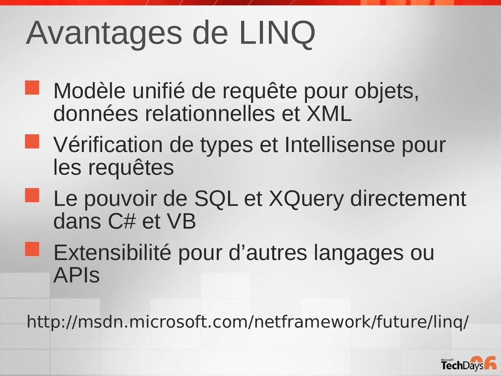 Avantages de LINQ  Modèle unifié de requête po...