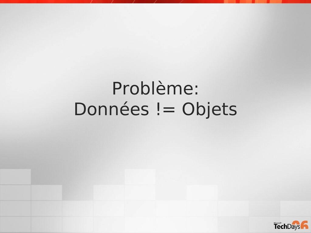 Problème: Données != Objets