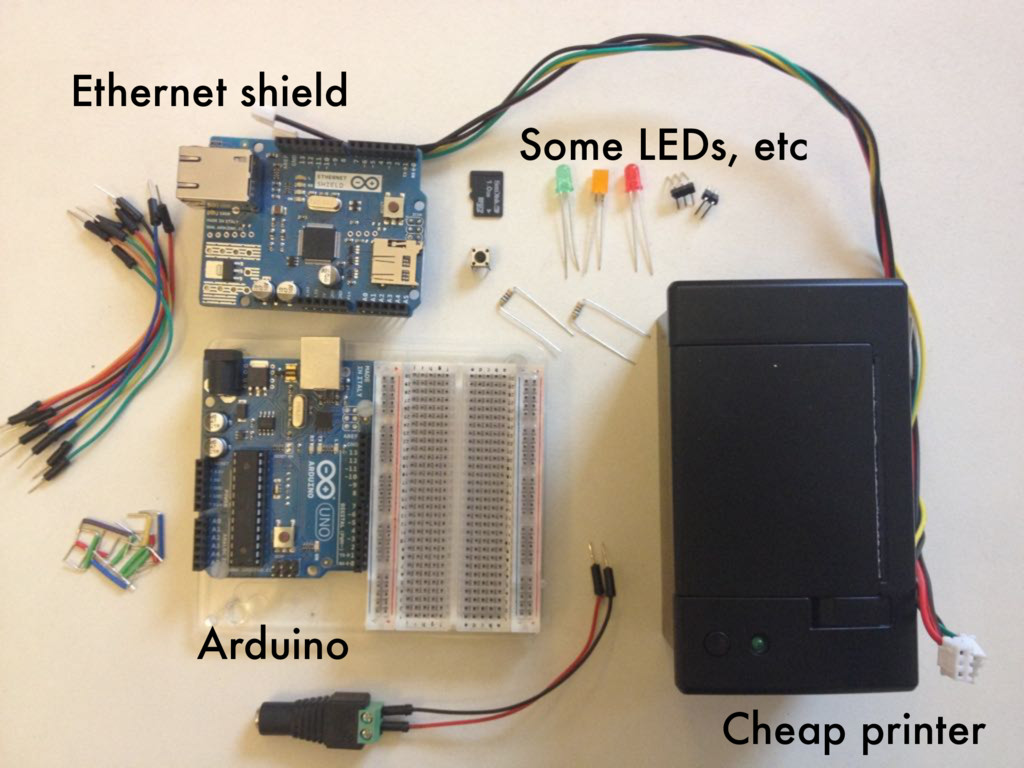 Cheap printer Ethernet shield Arduino Some LEDs...