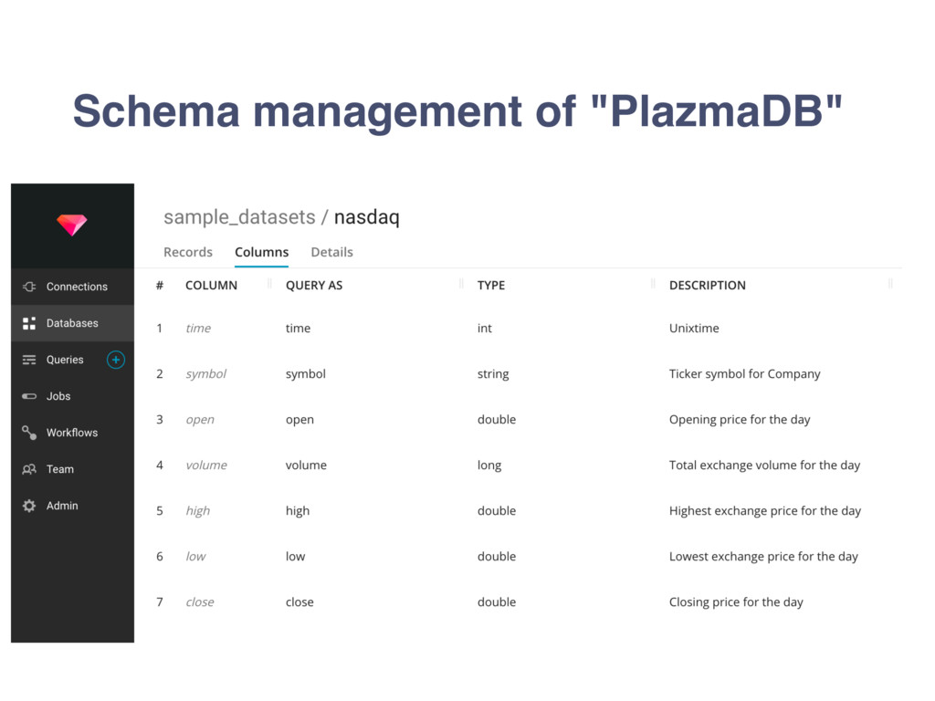 "Schema management of ""PlazmaDB"""
