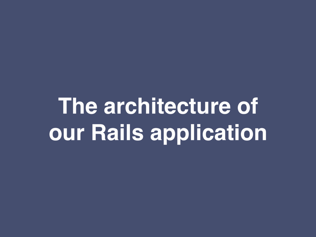 The architecture of our Rails application