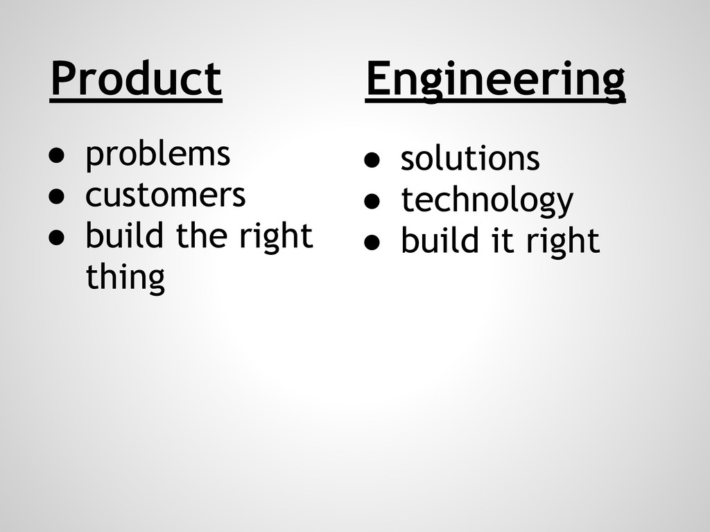 Product ● problems ● customers ● build the righ...