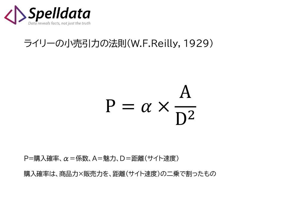 ライリーの小売引力の法則(W.F.Reilly, 1929) P =  × A D2 P=購入...