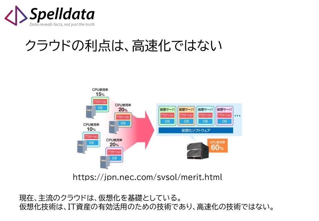 クラウドの利点は、高速化ではない https://jpn.nec.com/svsol/meri...