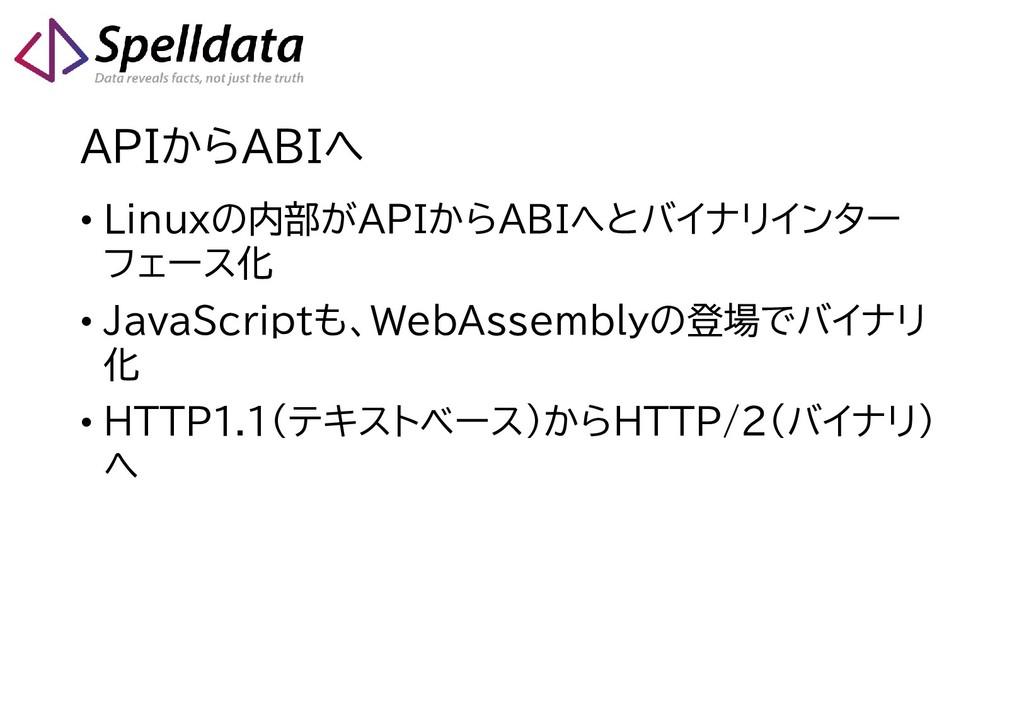 APIからABIへ • Linuxの内部がAPIからABIへとバイナリインター フェース化 •...