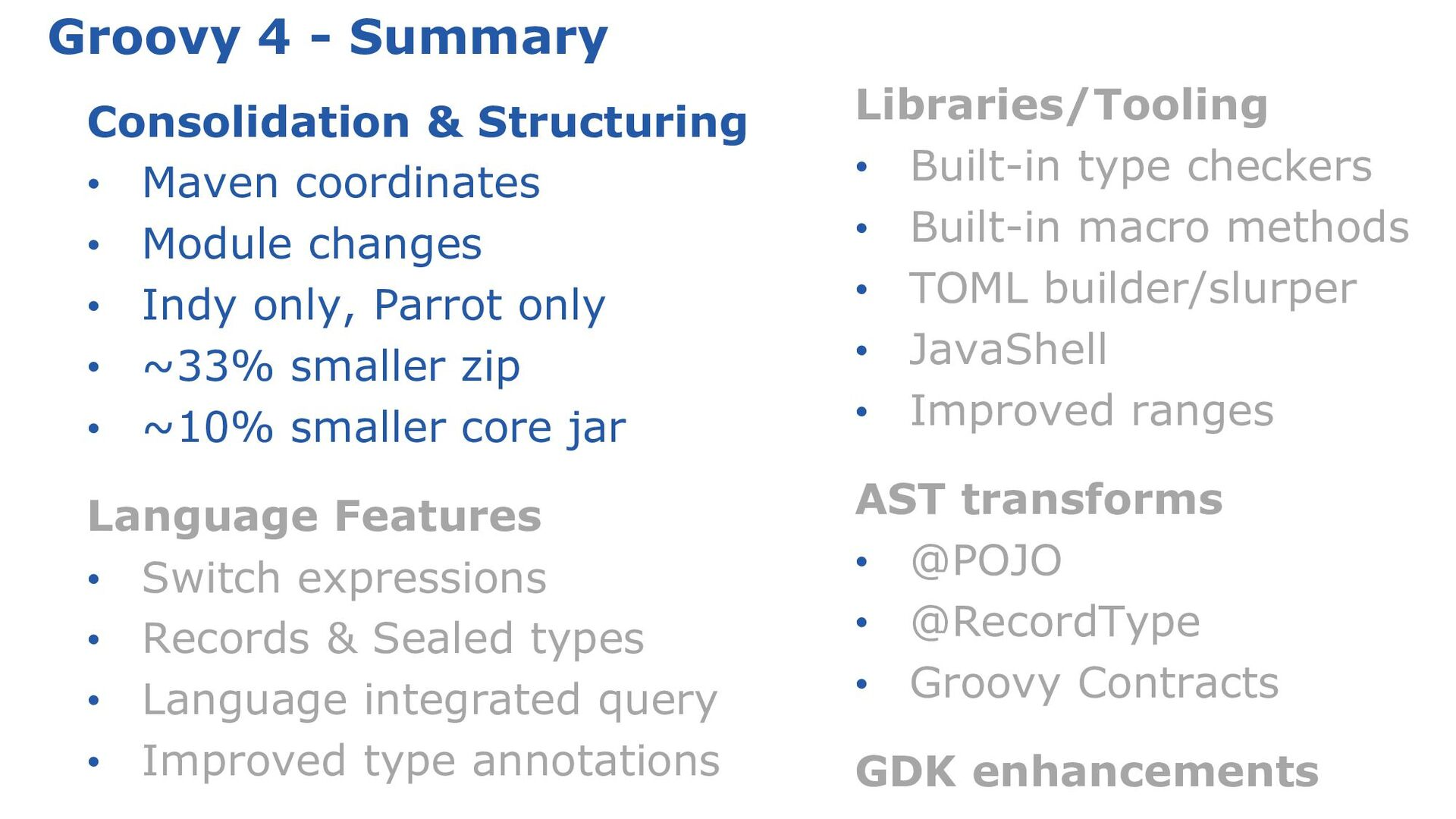 Groovy by the numbers: Highlights Initial relea...