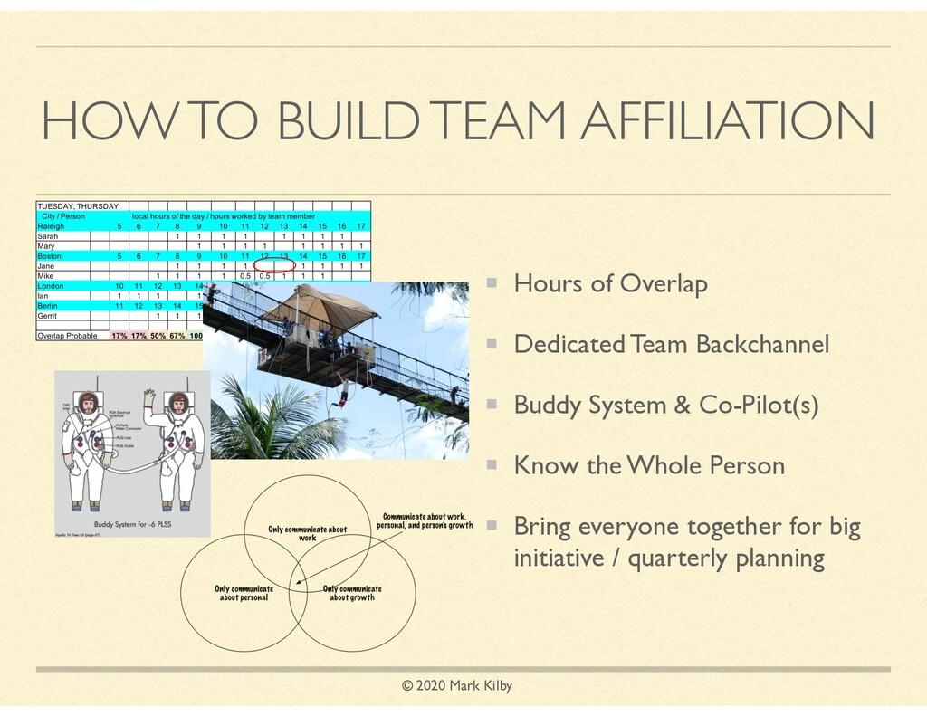 © 2020 Mark Kilby HOW TO BUILD TEAM AFFILIATION...