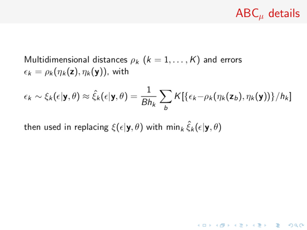 ABCµ details Multidimensional distances ρk (k =...