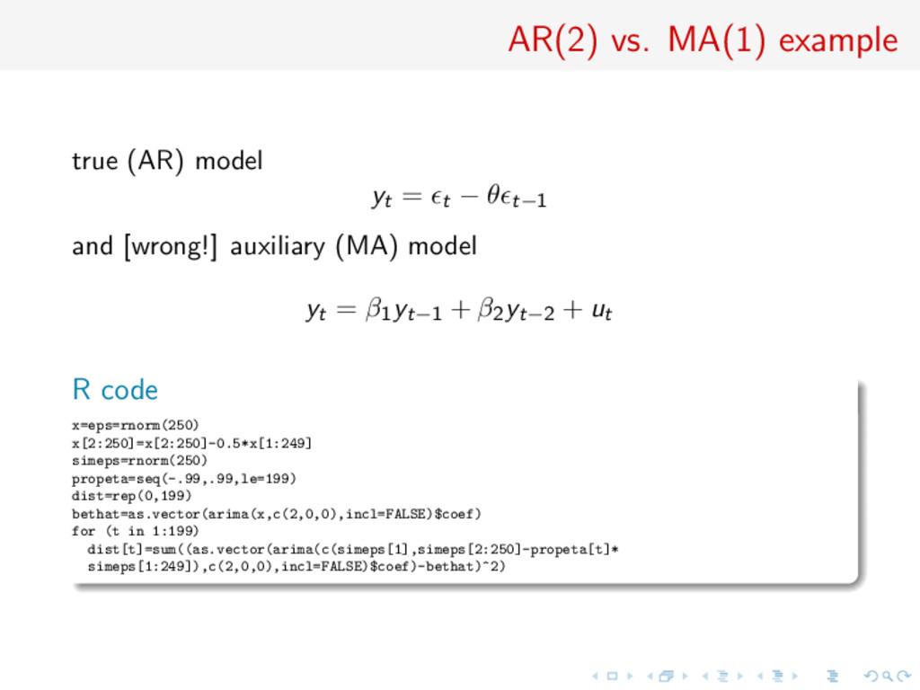 AR(2) vs. MA(1) example true (AR) model yt = t ...