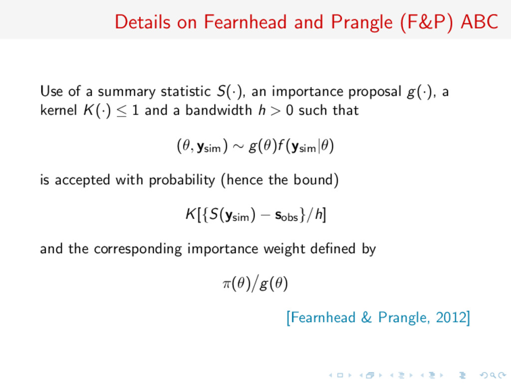 Details on Fearnhead and Prangle (F&P) ABC Use ...