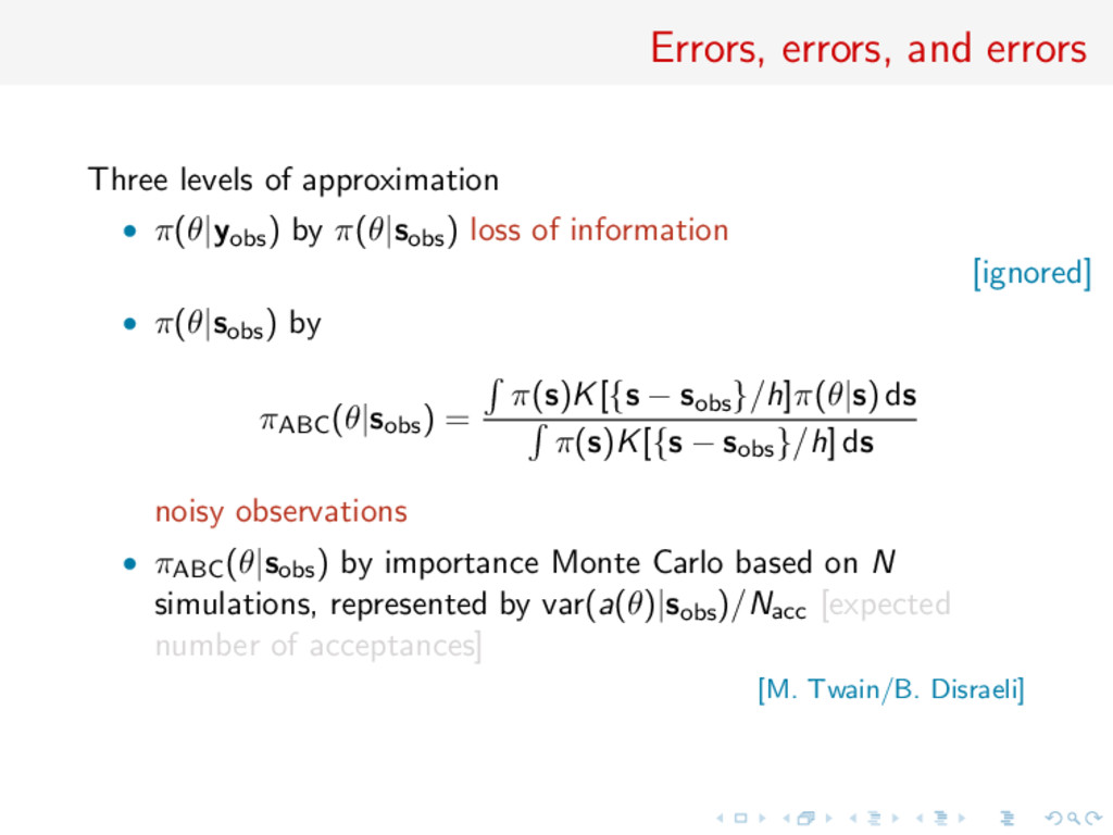 Errors, errors, and errors Three levels of appr...