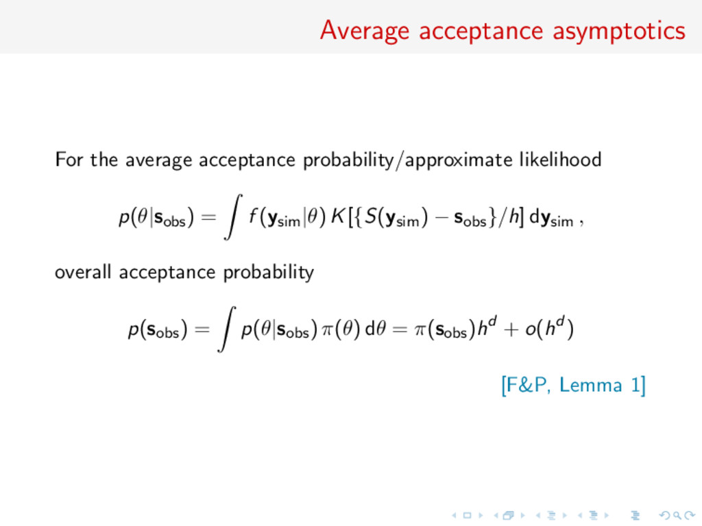 Average acceptance asymptotics For the average ...