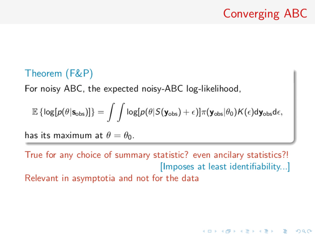 Converging ABC Theorem (F&P) For noisy ABC, the...