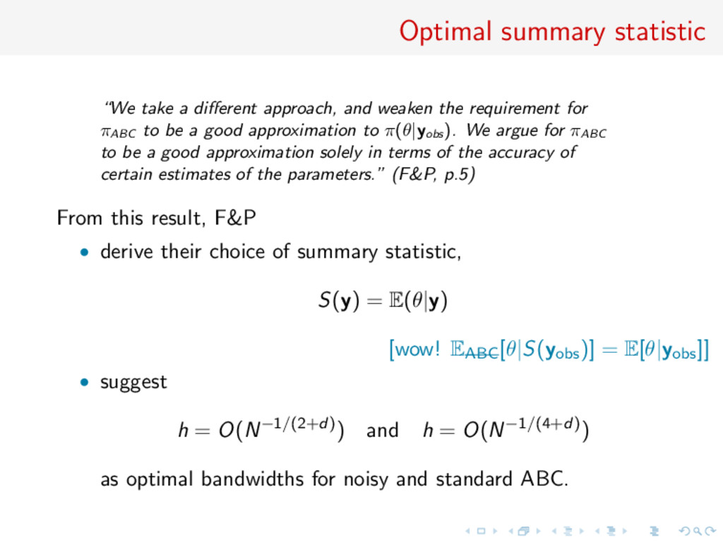 "Optimal summary statistic ""We take a different a..."