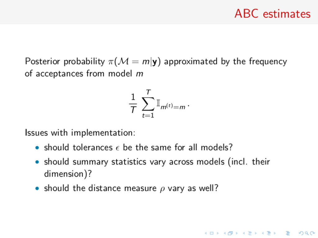 ABC estimates Posterior probability π(M = m|y) ...