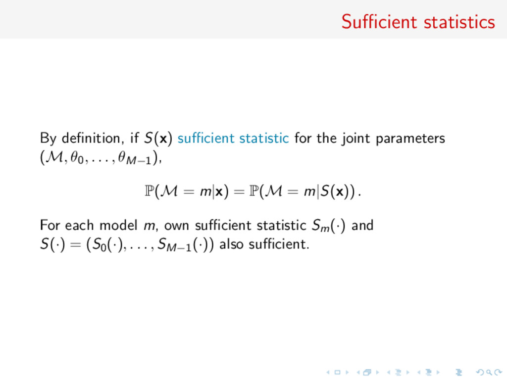 Sufficient statistics By definition, if S(x) suffici...