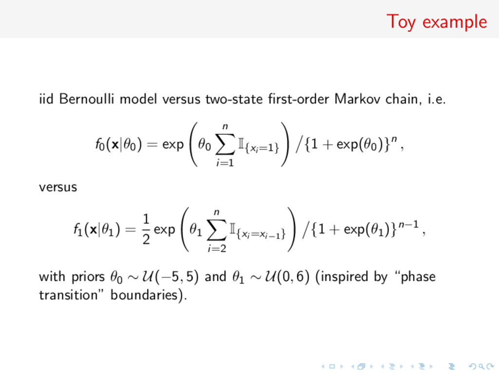 Toy example iid Bernoulli model versus two-stat...
