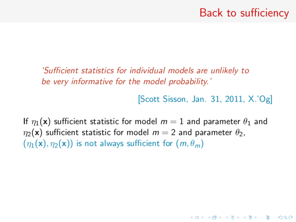 Back to sufficiency 'Sufficient statistics for indi...