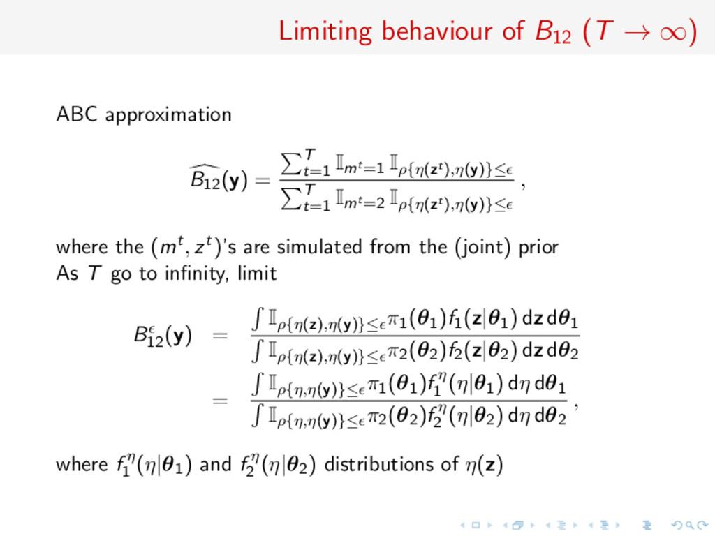 Limiting behaviour of B12 (T → ∞) ABC approxima...