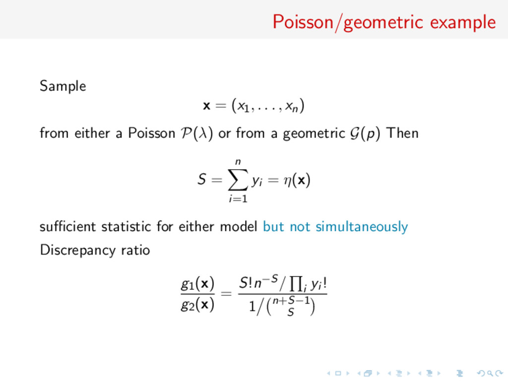Poisson/geometric example Sample x = (x1, . . ....