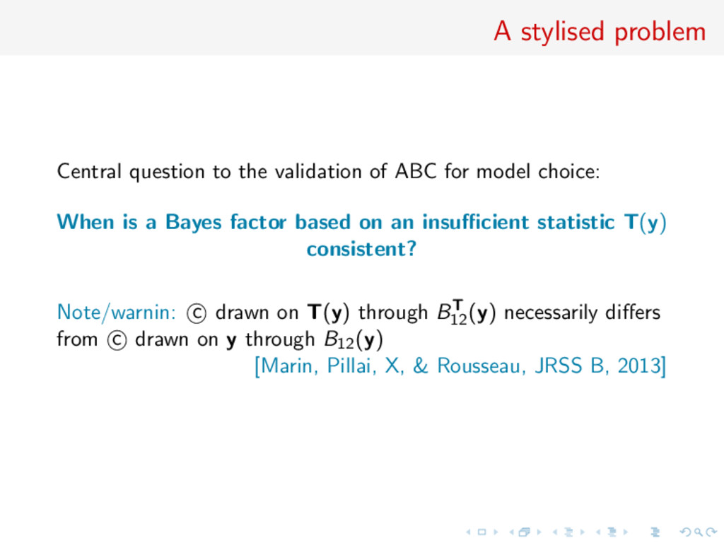 A stylised problem Central question to the vali...