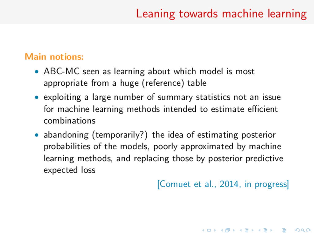Leaning towards machine learning Main notions: ...