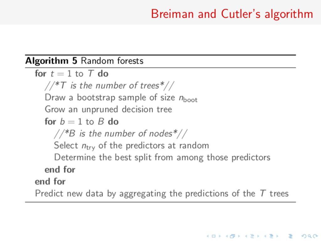 Breiman and Cutler's algorithm Algorithm 5 Rand...
