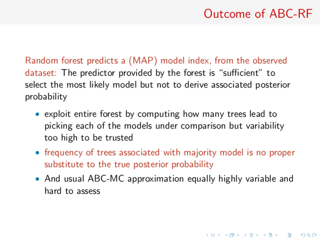 Outcome of ABC-RF Random forest predicts a (MAP...