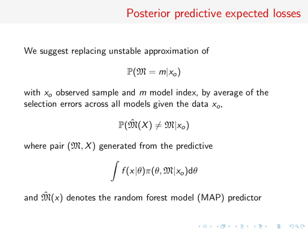 Posterior predictive expected losses We suggest...
