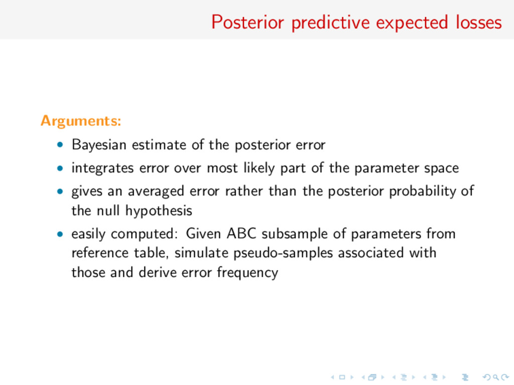 Posterior predictive expected losses Arguments:...