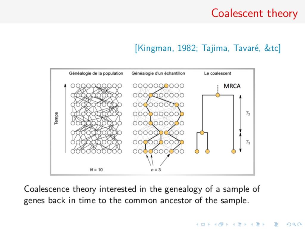 Coalescent theory [Kingman, 1982; Tajima, Tavar...
