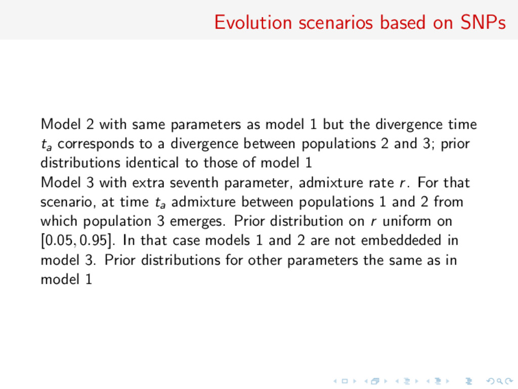 Evolution scenarios based on SNPs Model 2 with ...