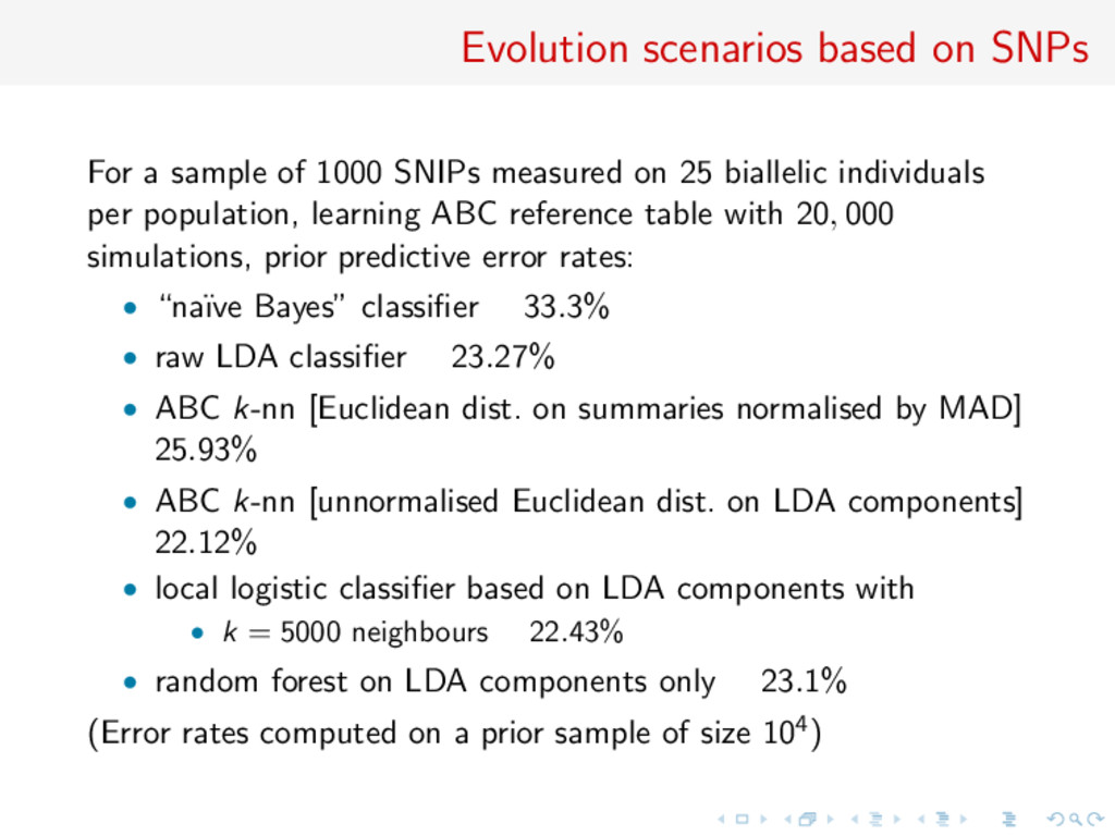 Evolution scenarios based on SNPs For a sample ...