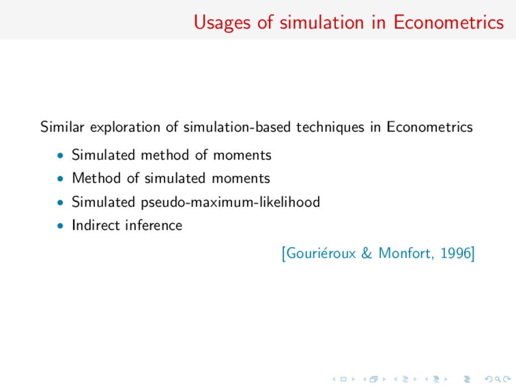 Usages of simulation in Econometrics Similar ex...