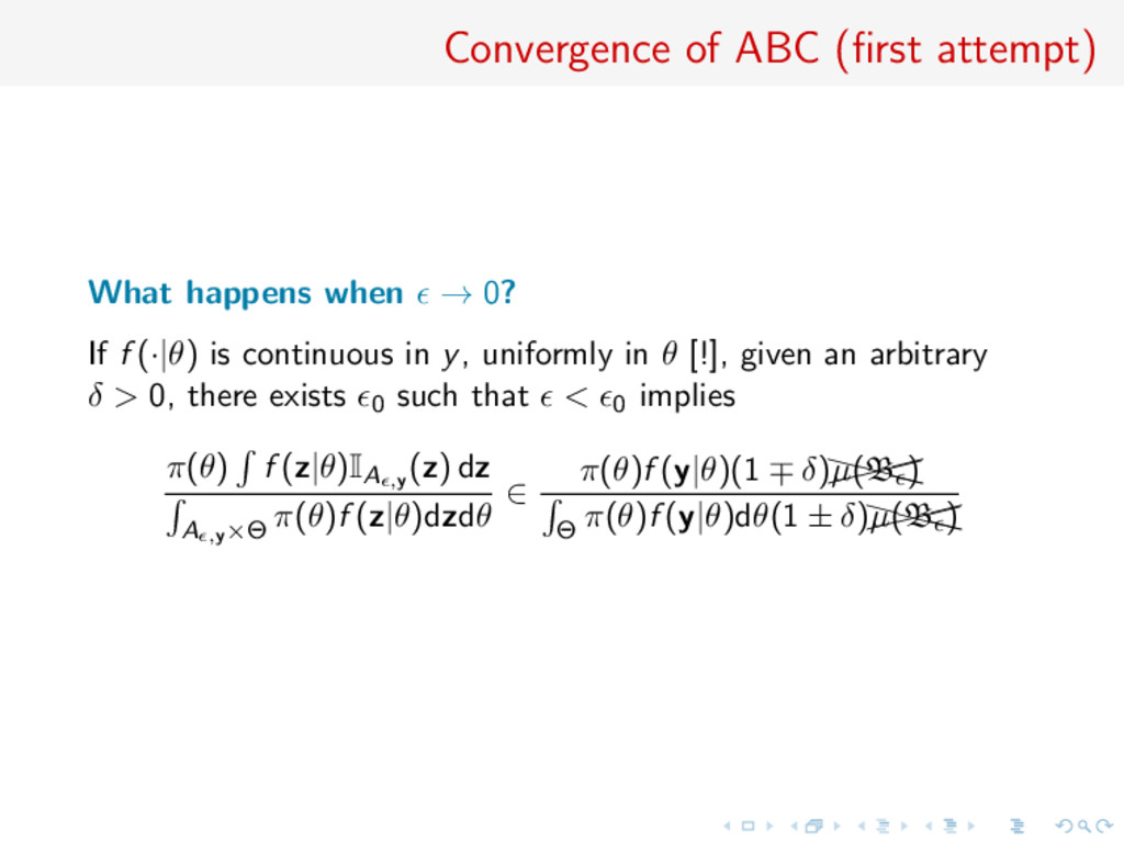 Convergence of ABC (first attempt) What happens ...