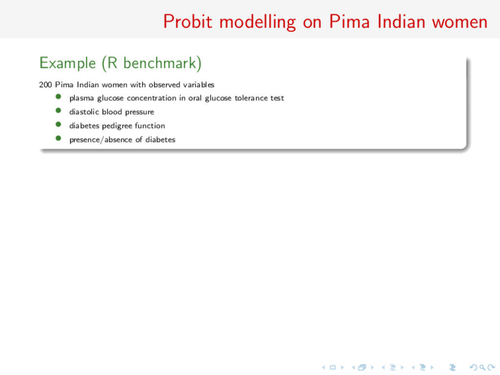 Probit modelling on Pima Indian women Example (...