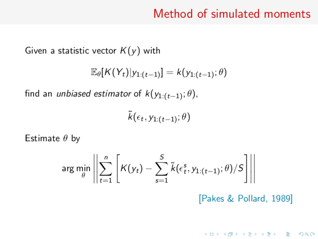 Method of simulated moments Given a statistic v...