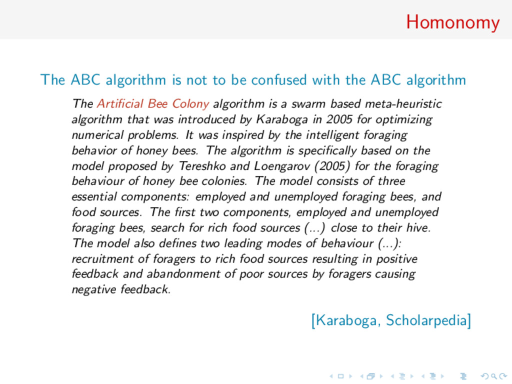 Homonomy The ABC algorithm is not to be confuse...
