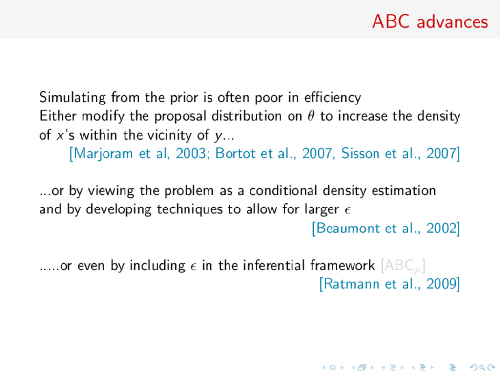 ABC advances Simulating from the prior is often...