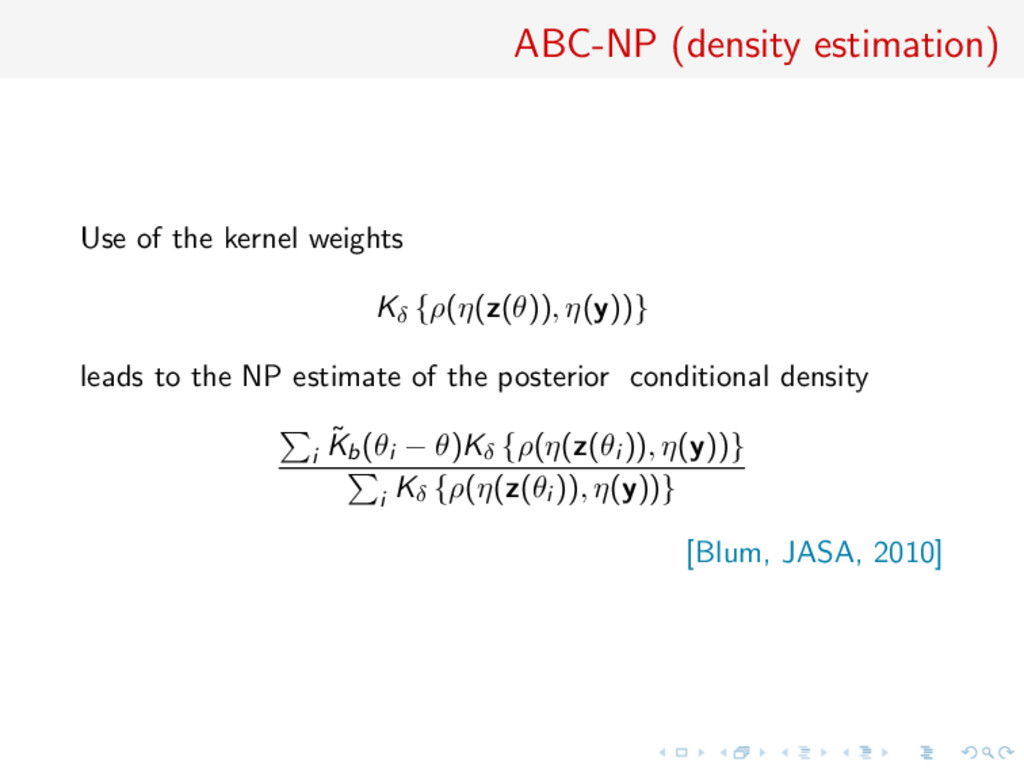ABC-NP (density estimation) Use of the kernel w...