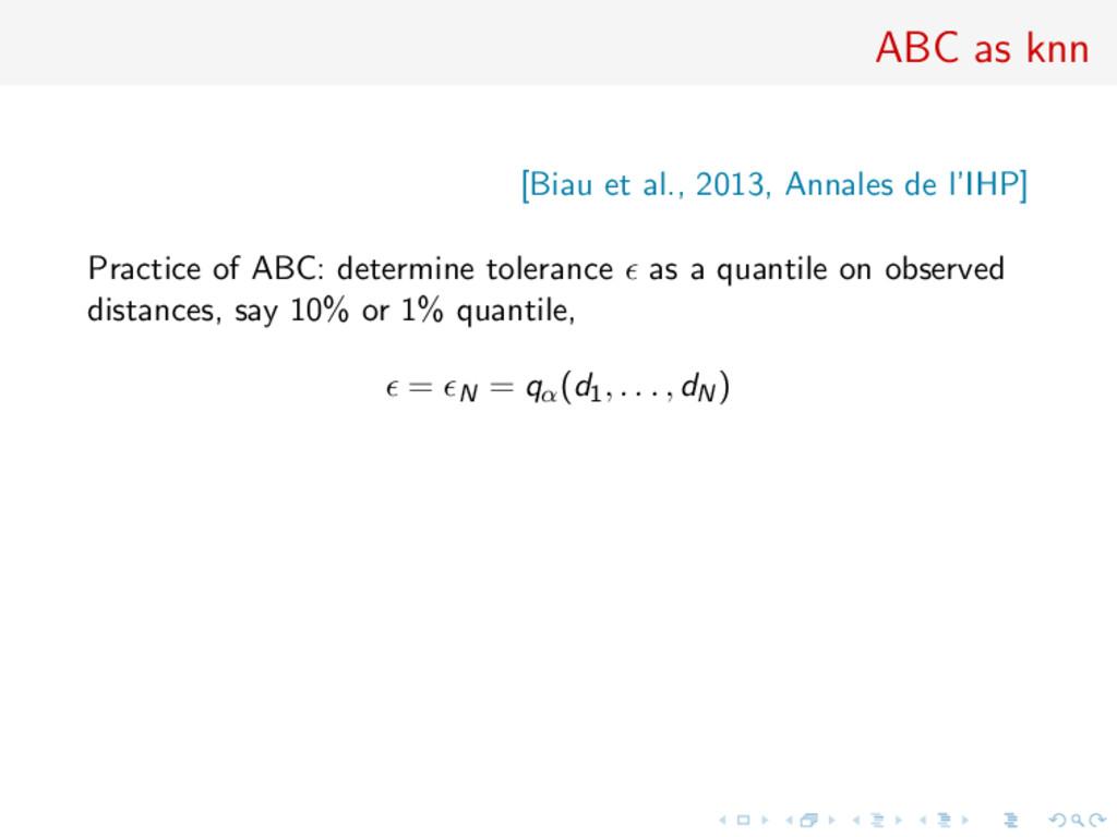 ABC as knn [Biau et al., 2013, Annales de l'IHP...
