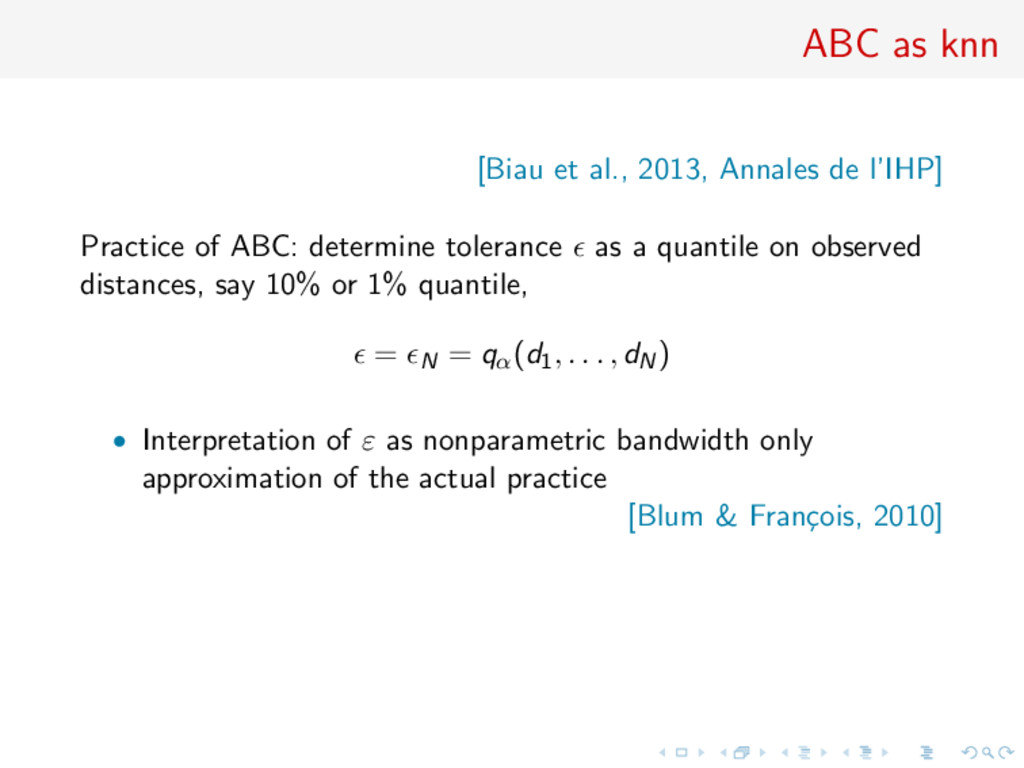 ABC as knn [Biau et al., 2013, Annales de l'IHP...