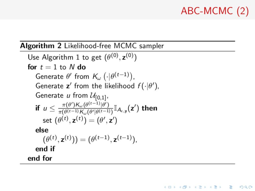 ABC-MCMC (2) Algorithm 2 Likelihood-free MCMC s...