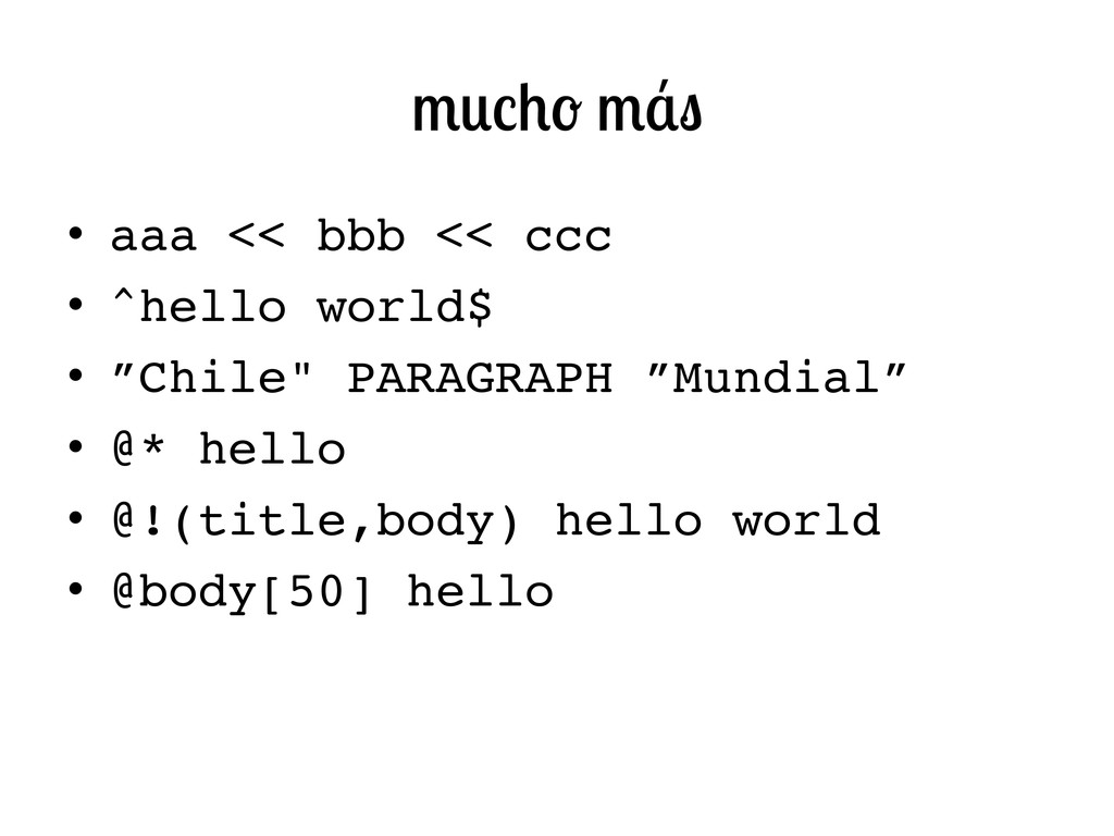 "• aaa << bbb << ccc! • ^hello world$! • ""Chi..."