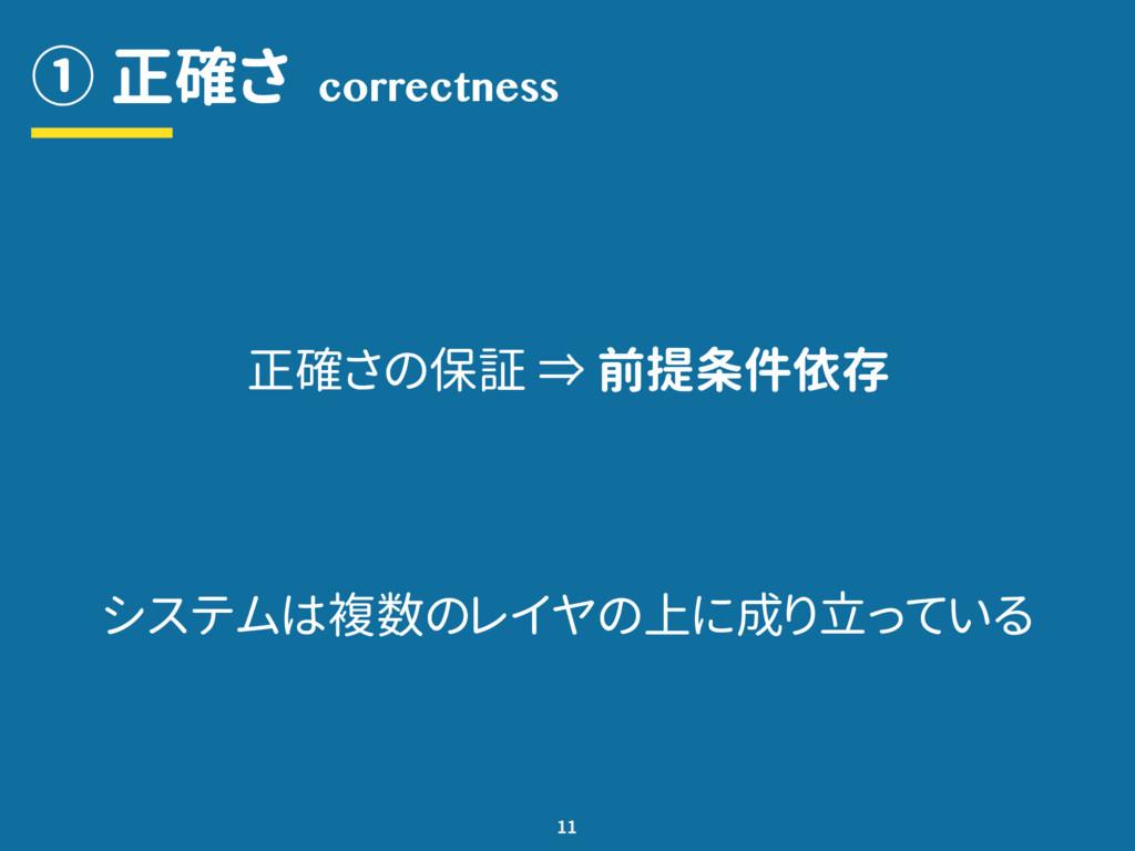 ① 正確さ 11 correctness 正確さの保証 ⇒ 前提条件依存 システムは複数のレイ...