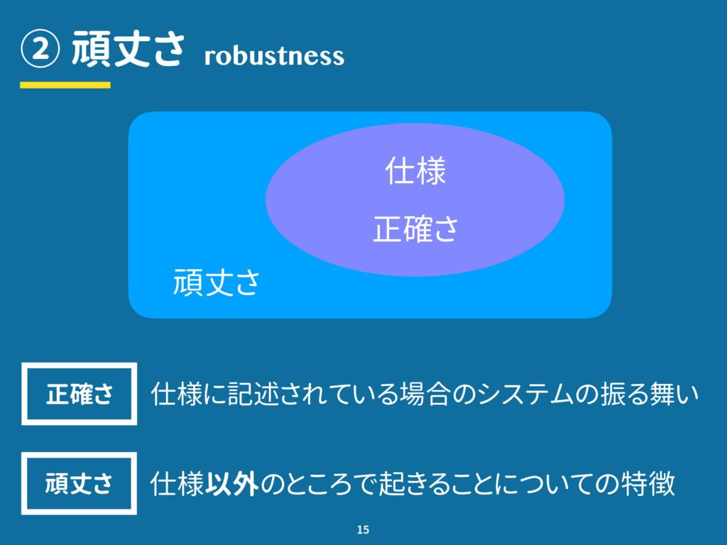 ② 頑丈さ 15 robustness 頑丈さ 仕様 正確さ 仕様に記述されている場合のシステ...