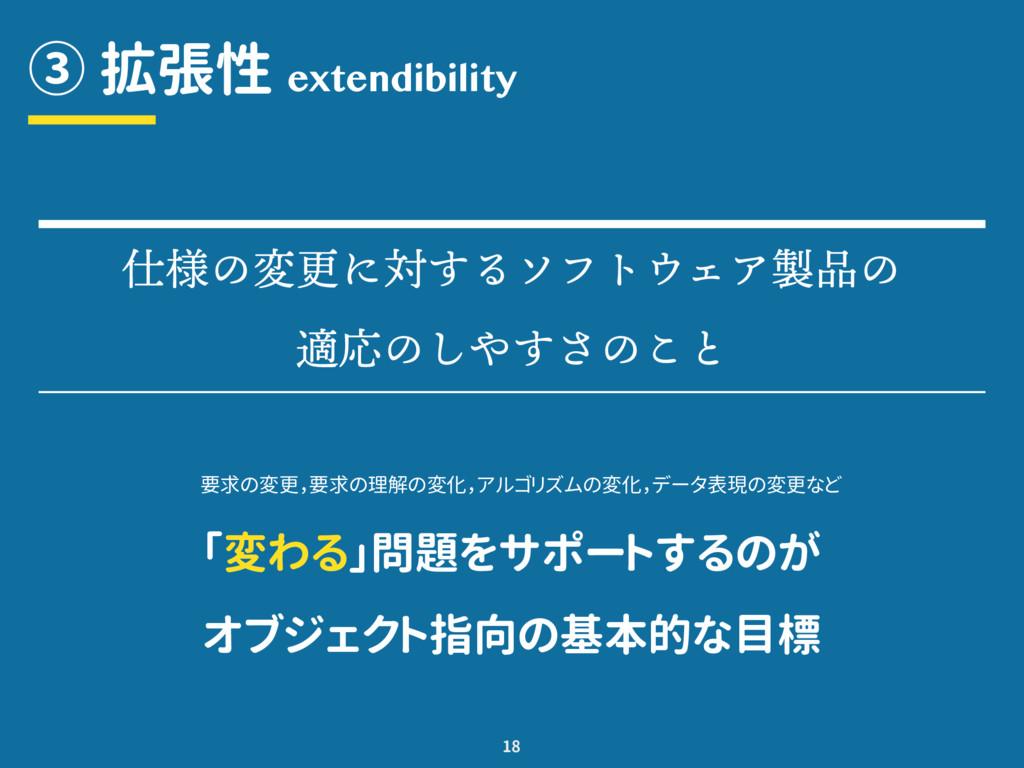 ③ 拡張性 ϵ൴̄ݴ́ࡠ˯̵̡̹̺͑ͩ͜ᛂي̄ ে̄˭̚˯˫̄˩˾ 18 extendi...