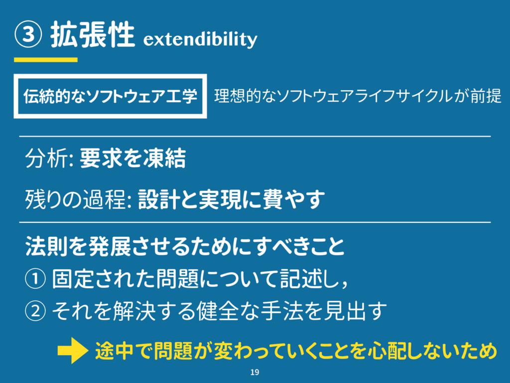 ③ 拡張性 19 extendibility 分析: 要求を凍結 残りの過程: 設計と実現に費...